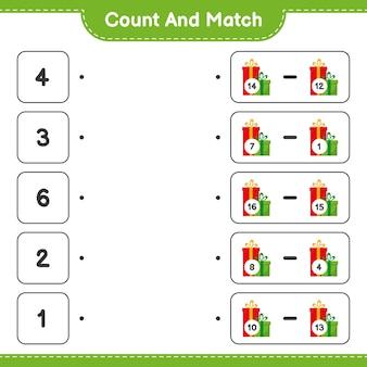 Comptez et associez, comptez le nombre de coffrets cadeaux et faites correspondre les bons numéros. jeu éducatif pour enfants