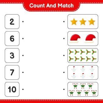 Comptez et associez, comptez le nombre de décoration de noël et faites correspondre avec les bons nombres. jeu éducatif pour enfants