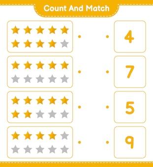 Comptez et associez, comptez le nombre d'étoiles et faites correspondre les bons nombres. jeu éducatif pour enfants