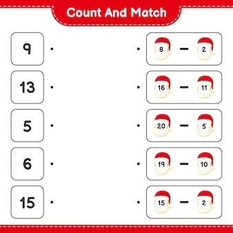 Comptez et associez, comptez le nombre de père noël et faites correspondre avec les bons nombres. jeu éducatif pour enfants