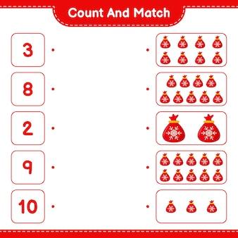 Comptez et associez, comptez le nombre de sac du père noël et faites correspondre avec les bons nombres. jeu éducatif pour enfants