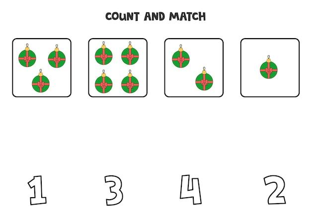 Comptez les boules de noël et faites correspondre avec les bons numéros. jeu de maths pour les enfants.
