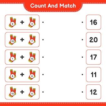 Comptez et faites correspondre comptez le nombre de chaussettes et faites correspondre avec les bons numéros