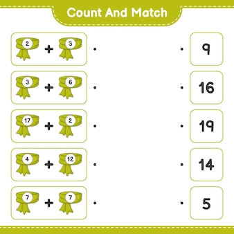 Comptez et faites correspondre comptez le nombre d'écharpes et faites correspondre avec les bons numéros