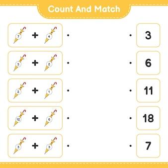 Comptez et faites correspondre le nombre de parapluies et faites correspondre avec les bons numéros