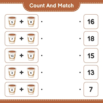 Comptez et faites correspondre le nombre de tasses à café et faites correspondre avec les bons numéros