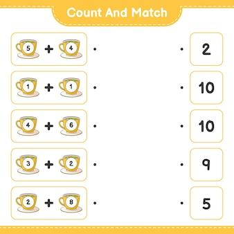 Comptez et faites correspondre le nombre de tasses à thé et faites correspondre avec les bons numéros