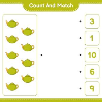 Comptez et faites correspondre le nombre de théières et faites correspondre avec les bons numéros