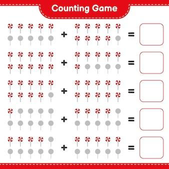 Comptez le jeu comptez le nombre de bonbons et écrivez le résultat jeu éducatif pour enfants