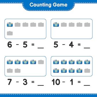 Comptez le jeu comptez le nombre de caméra et écrivez le résultat jeu éducatif pour enfants