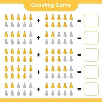 Comptez le jeu, comptez le nombre de courges musquées et écrivez le résultat. jeu éducatif pour enfants, feuille de calcul imprimable