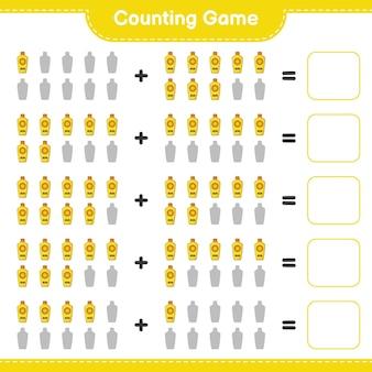 Comptez le jeu comptez le nombre de crème solaire et écrivez le résultat jeu éducatif pour enfants