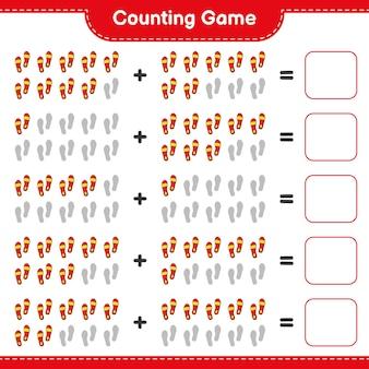 Comptez le jeu comptez le nombre de flip flop et écrivez le résultat jeu éducatif pour enfants