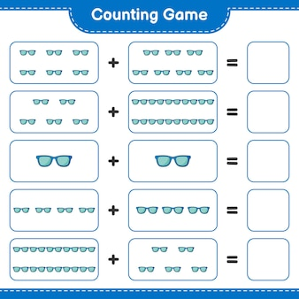 Comptez le jeu comptez le nombre de lunettes de soleil et écrivez le résultat jeu éducatif pour enfants