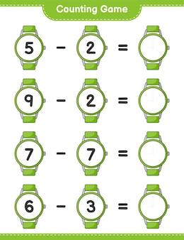 Comptez le jeu comptez le nombre de montres et écrivez le résultat jeu éducatif pour enfants