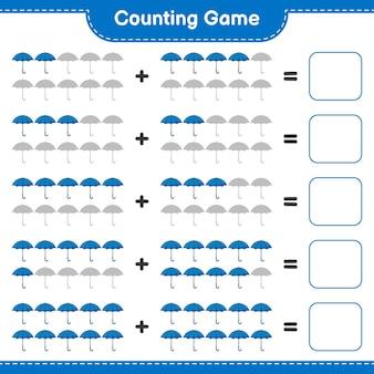 Comptez le jeu comptez le nombre de parapluie et écrivez le résultat jeu éducatif pour enfants