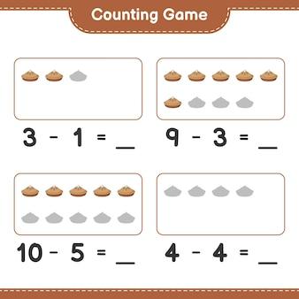Comptez le jeu, comptez le nombre de pie et écrivez le résultat. jeu éducatif pour enfants, feuille de calcul imprimable
