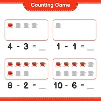 Comptez le jeu, comptez le nombre de tasses à café et écrivez le résultat. jeu éducatif pour enfants, feuille de calcul imprimable