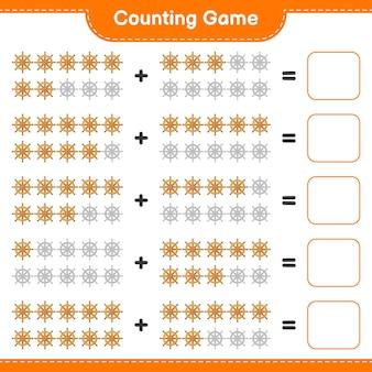 Comptez le jeu comptez le nombre de volant de navire et écrivez le résultat
