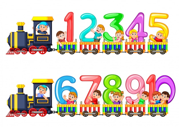 Comptez jusqu'à dix avec des enfants dans le train