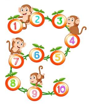 Comptez jusqu'à dix avec des fruits et du singe