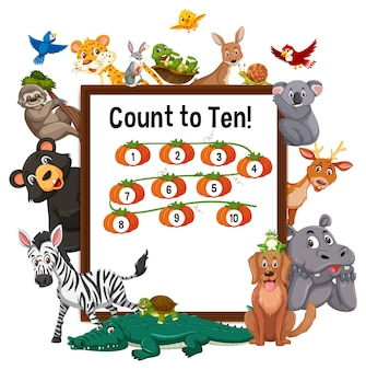 Comptez jusqu'à dix planche avec des animaux sauvages