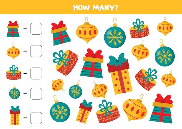 Comptez le nombre de cadeaux et de boules de noël. feuille de calcul mathématique pour les enfants.