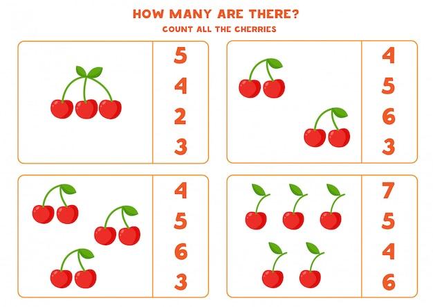 Comptez le nombre de cerises. jeu de mathématiques éducatif.