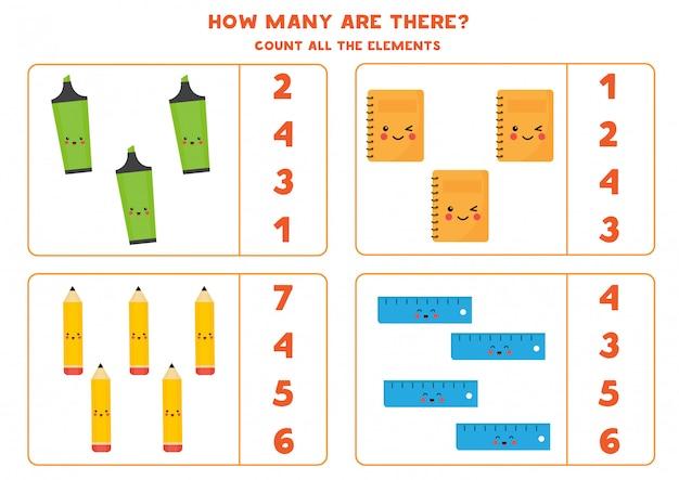 Comptez le nombre de crayons kawaii, cahiers, surligneurs, règles.