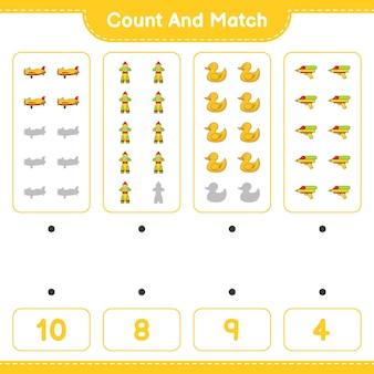 Comptez le nombre de pistolet à eau de canard en caoutchouc de fusée d'avion et faites correspondre avec les bons nombres