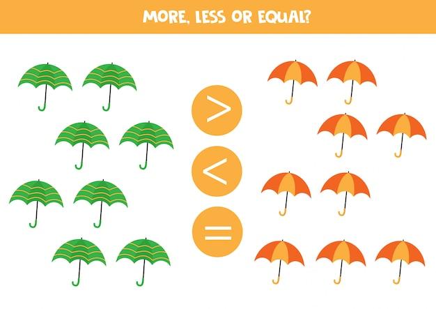 Comptez les parapluies colorés et comparez plus, moins ou égal