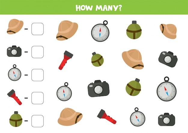 Comptez la quantité d'équipement touristique. jeu de mathématiques.