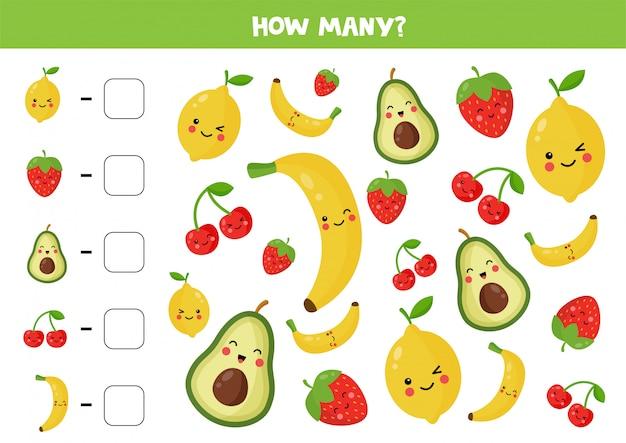 Comptez la quantité de fruits kawaii mignons.