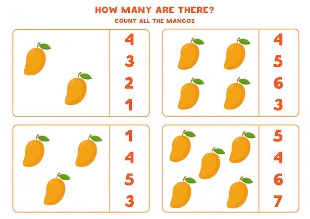 Comptez la quantité de mangues de dessins animés. jeu de mathématiques éducatif pour les enfants. feuille de travail imprimable pour les enfants d'âge préscolaire.