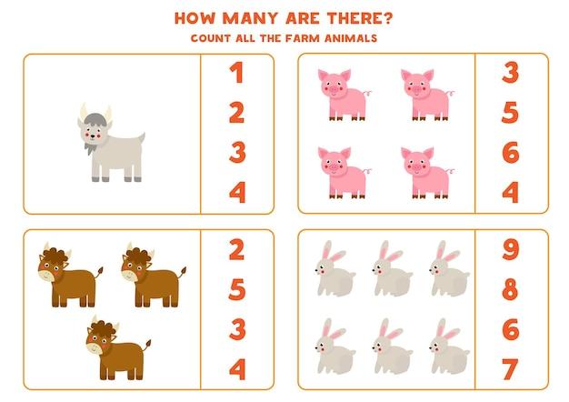 Comptez tous les animaux de la ferme et encerclez les bonnes réponses. jeu de mathématiques pour les enfants.