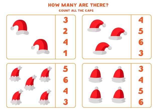 Comptez tous les chapeaux du père noël. feuille de calcul pédagogique pour les enfants.