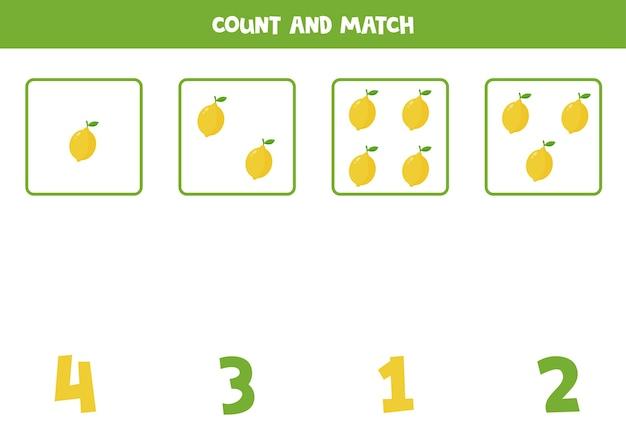 Comptez tous les citrons et associez-les aux nombres. jeu de mathématiques pour les enfants d'âge préscolaire.