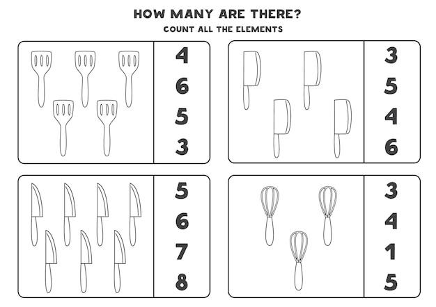 Comptez tous les couverts de cuisine en noir et blanc entourez les bonnes réponses. jeu de mathématiques pour les enfants.