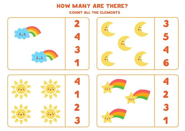 Comptez tous les éléments météorologiques et encerclez les bonnes réponses. jeu de mathématiques pour les enfants.