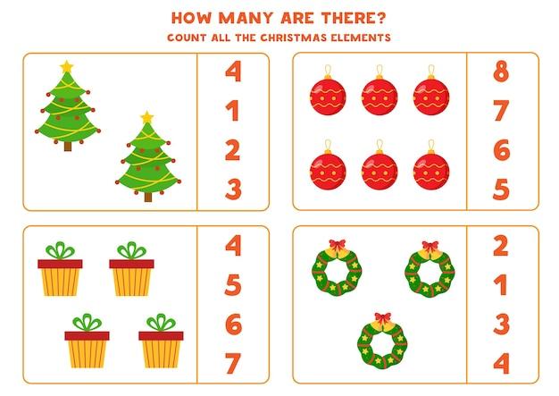 Comptez tous les éléments de noël. jeu de maths avec sapin de noël, cadeau, guirlande et boule.