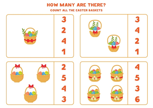 Comptez tous les paniers de pâques remplis d'œufs