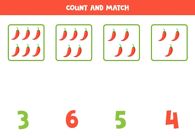 Comptez tous les poivrons rouges de dessin animé et assortissez-les avec la bonne réponse. jeu de mathématiques pour les enfants.