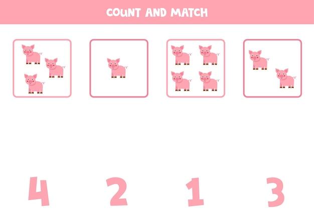 Comptez tous les porcs et faites correspondre les nombres corrects. jeu de mathématiques pour les enfants.