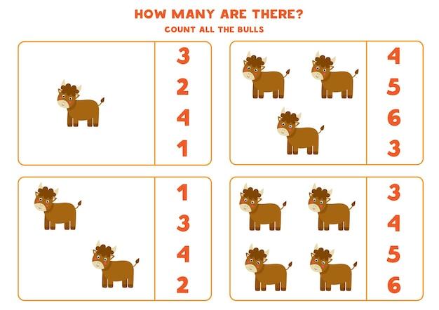 Comptez tous les taureaux de la ferme et encerclez les bonnes réponses. jeu de mathématiques pour les enfants.