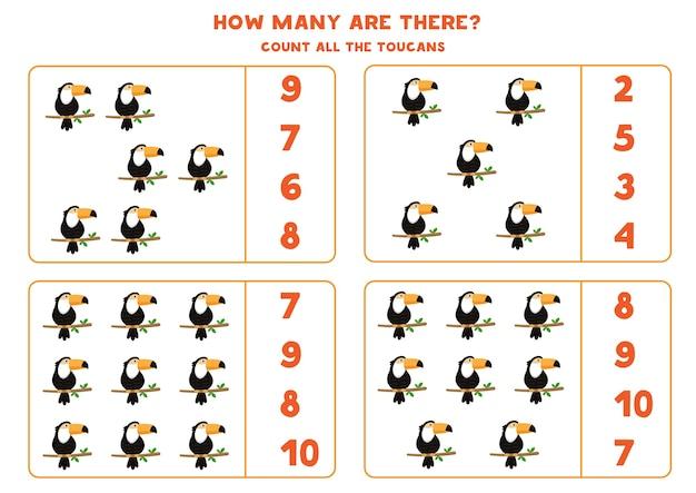 Comptez tous les toucans et encerclez la bonne réponse. jeu de mathématiques pour les enfants d'âge préscolaire.