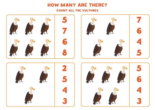 Comptez tous les vautours et encerclez la bonne réponse. jeu de mathématiques pour les enfants d'âge préscolaire.