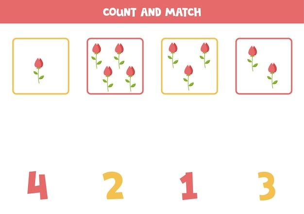 Comptez toutes les lèvres de la saint-valentin et faites correspondre la bonne réponse. jeu de mathématiques éducatif pour les enfants.
