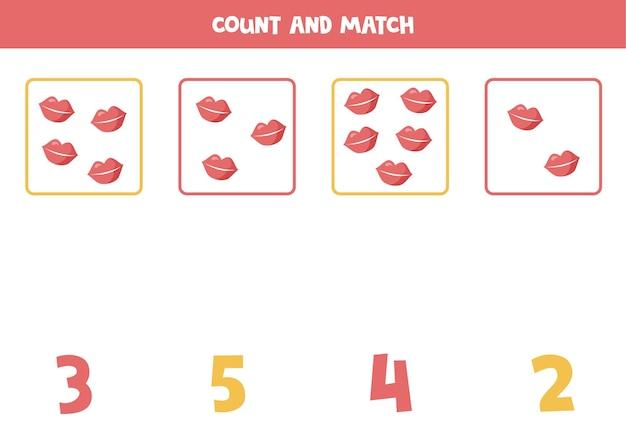 Comptez toutes les lèvres de la saint-valentin jeu de mathématiques éducatif pour les enfants