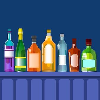 Comptoir de bar avec boisson alcoolisée, collection de bouteilles