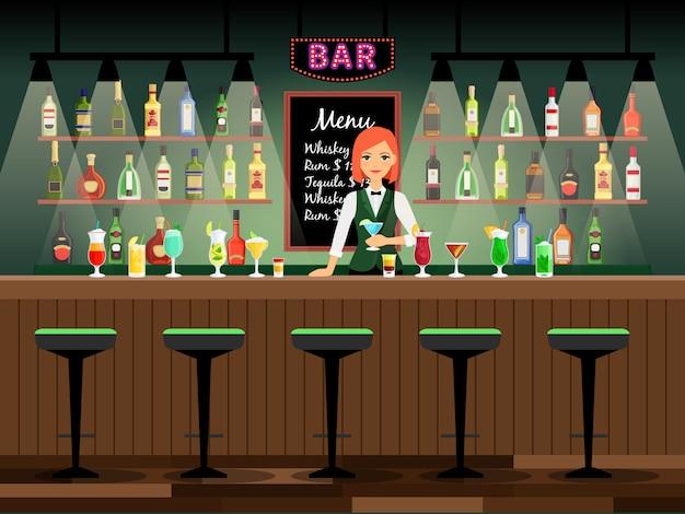 Comptoir de bar avec une dame barman et des bouteilles de vin sur les étagères derrière elle. illustration vectorielle